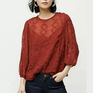 J crew ruby red peasant embroidered boho blouse